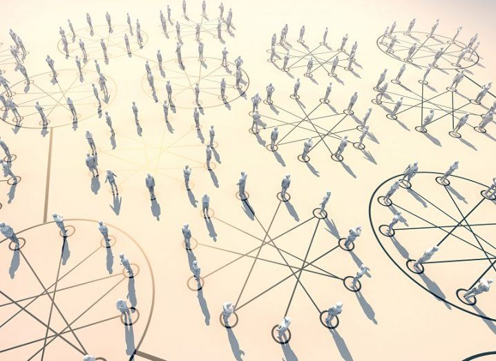3D illustration showing people separated by lines to indicate social distancing.