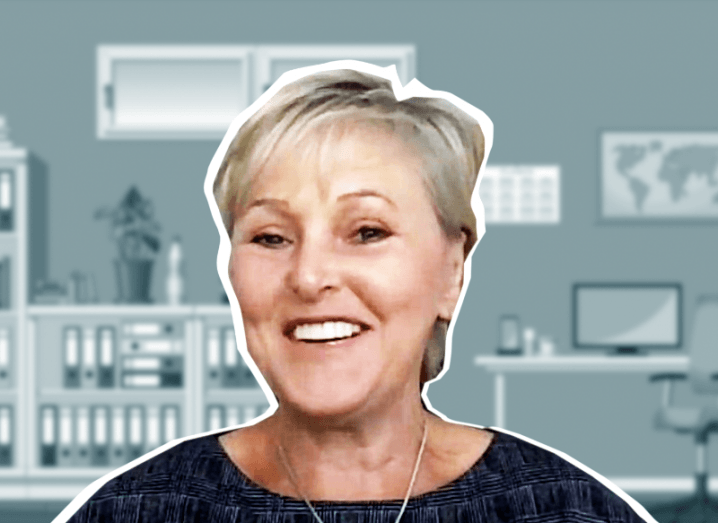 An animation-style image of Jackie Phillips from BT Ireland, smiling against an office background.