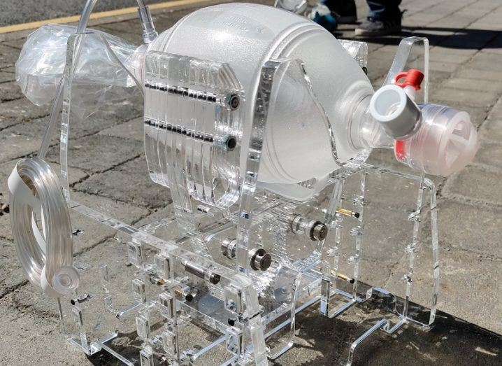 The GMIT ventilator placed on a concrete footpath.