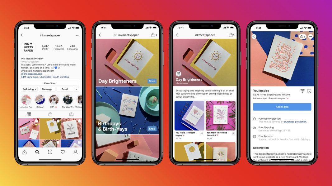 Image of four phone screens, showing the Instagram shop features.