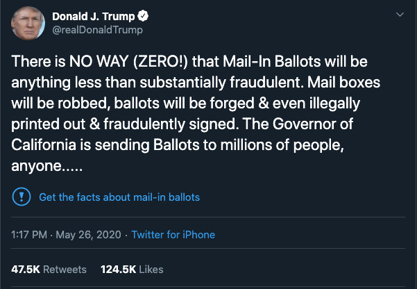 Screenshot of a Donald Trump tweet discussing mail-in ballots.