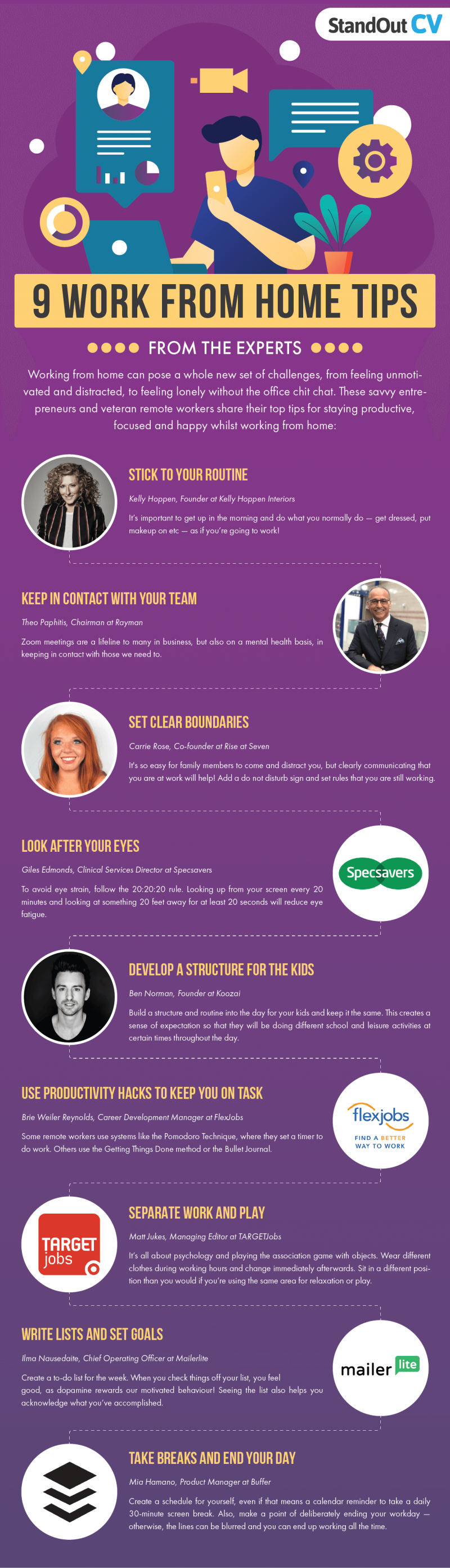 9 work-from-home tips infographic.