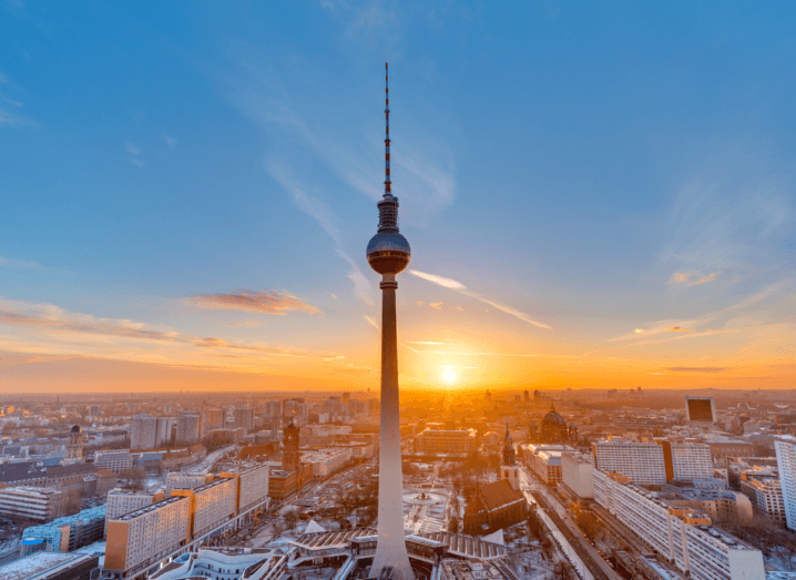 The television tower at Alexanderplatz in front of the Berlin skyline.