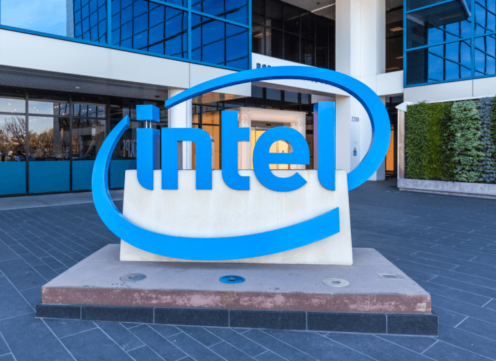 The Intel logo outside of an office building.