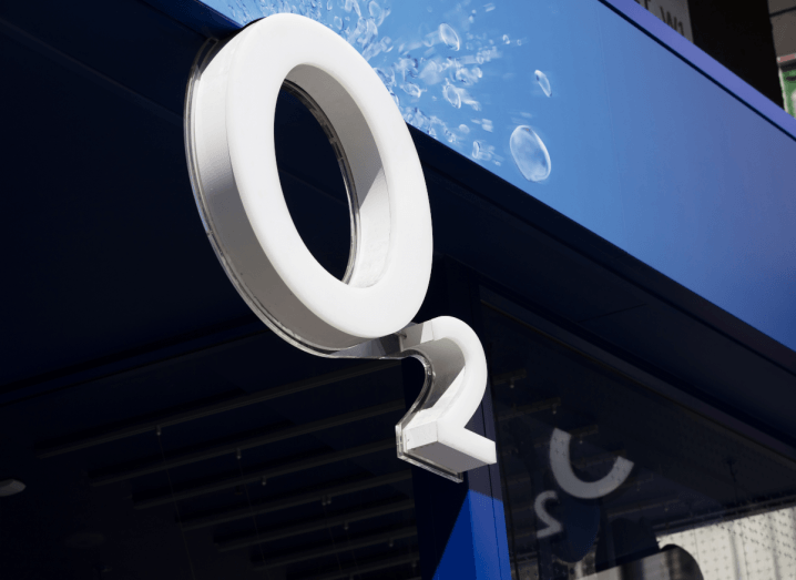 The O2 logo displayed on the front of a shop.