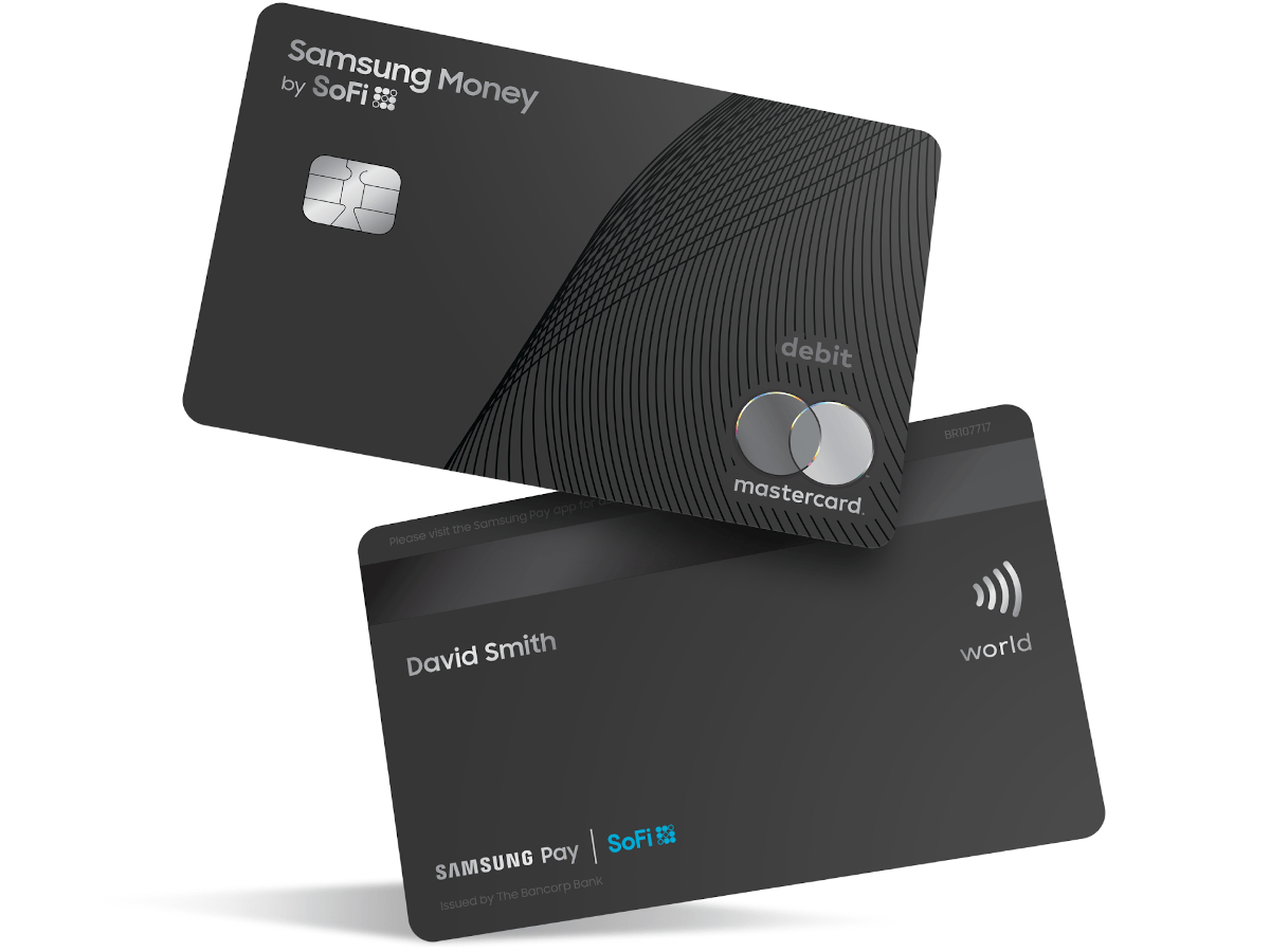 The front and back of a simple, black debit ard with the Mastercard logo printed on it, as well as standard features such as a magnetic strip and a contactless symbol.