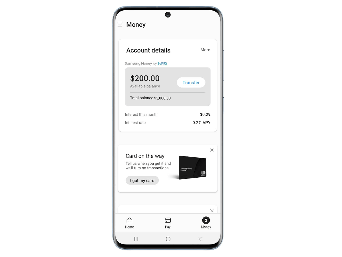 A white mobile app displaying a balance and information about the user's account.