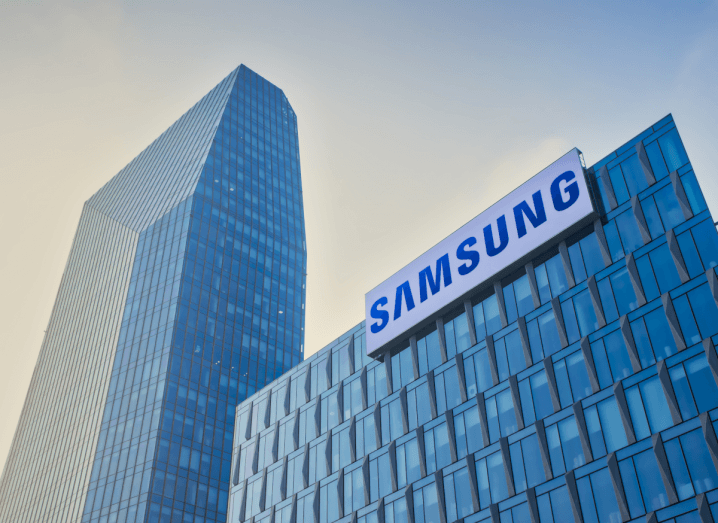 A large Samsung office building with the company's logo displayed on the front of it.