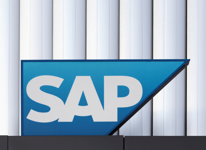 The SAP logo displayed on a sign outside of an office building.