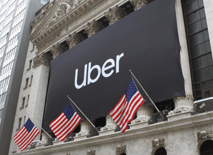 The Uber logo outside of the New York stock exchange.
