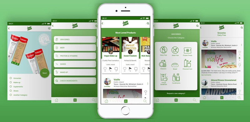 A mobile app with different menu screens and images of vegan products available nearby.