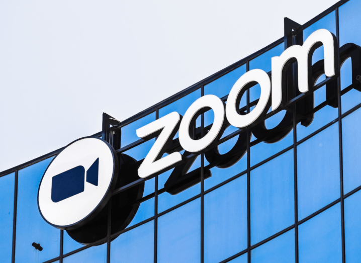 The Zoom logo on the outside of an office building.