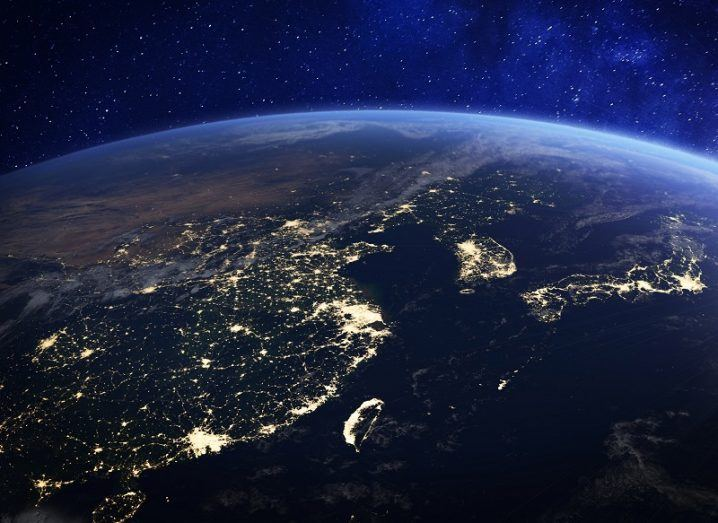 View of China from orbit with cities lit up.