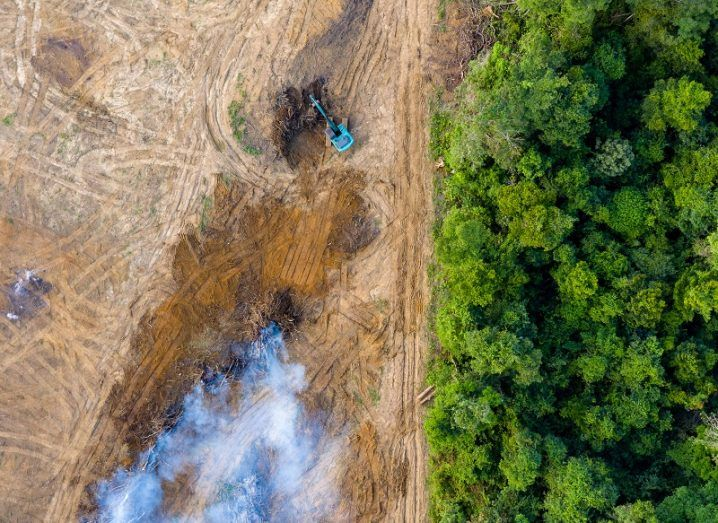 Aerial view of the devastation caused by tree felling in a rainforest.