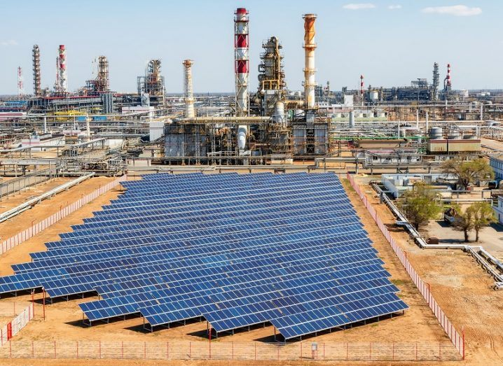 Solar panels installed on the territory of a petrochemical complex.