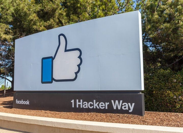 Facebook thumbs-up logo at its office on 1 Hacker Way.