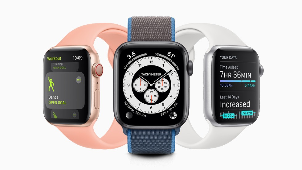 Three different Apple Watch screens displaying different apps.