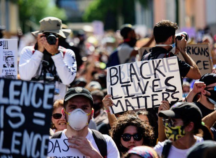 Black Lives Matter protest on the streets of Miami, Florida.
