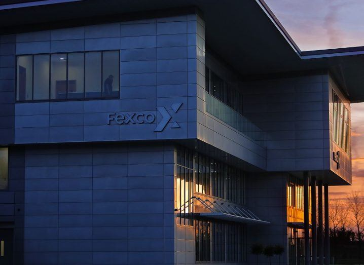 Side profile of Fexco's research development and innovation centre in Killorglin at dusk.