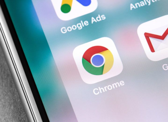 Google Chrome app icon on a phone screen.