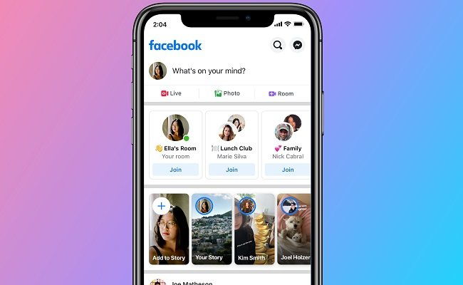 Screenshot of Messenger Rooms accessible through the Facebook app's newsfeed.