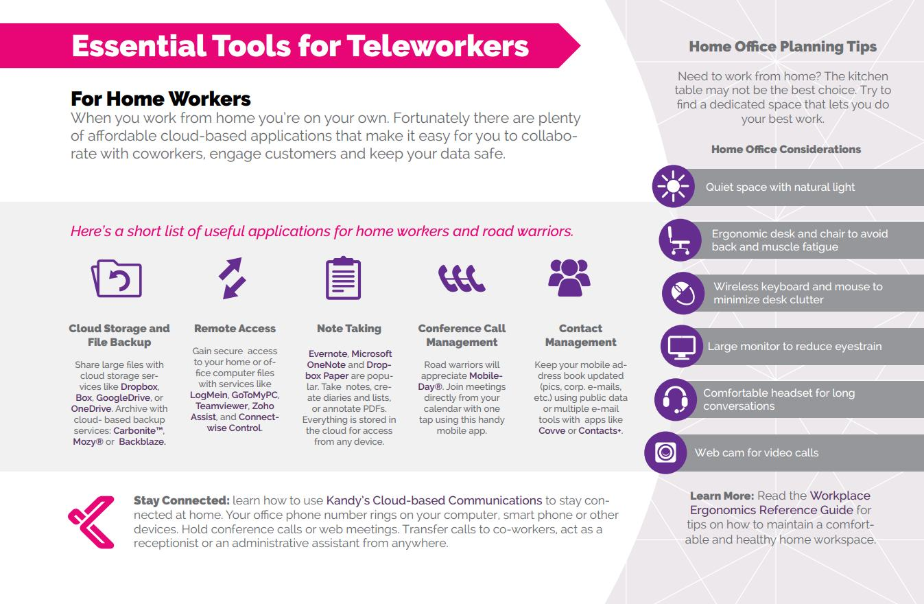 Infographic detailing essential tools for remote workers.