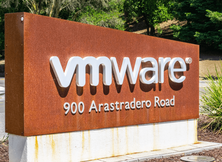 The VMware logo on a sign in Silicon Valley.