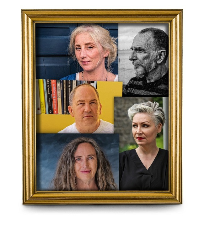 A framed image of the five artists commissioned for Women on Walls.