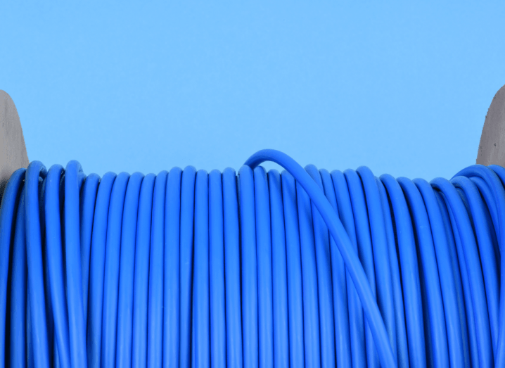 A spool of blue network cable.