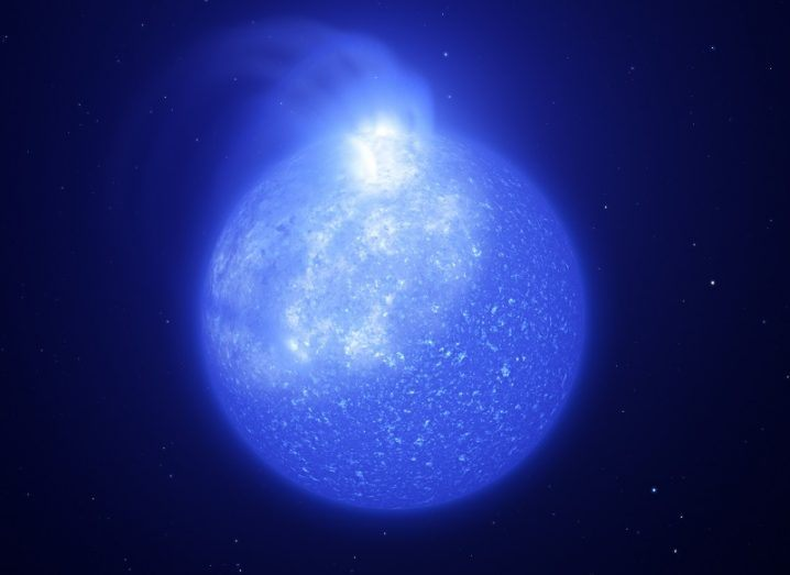 Artist's impression of star plagued by giant magnetic spot, coloured blue.