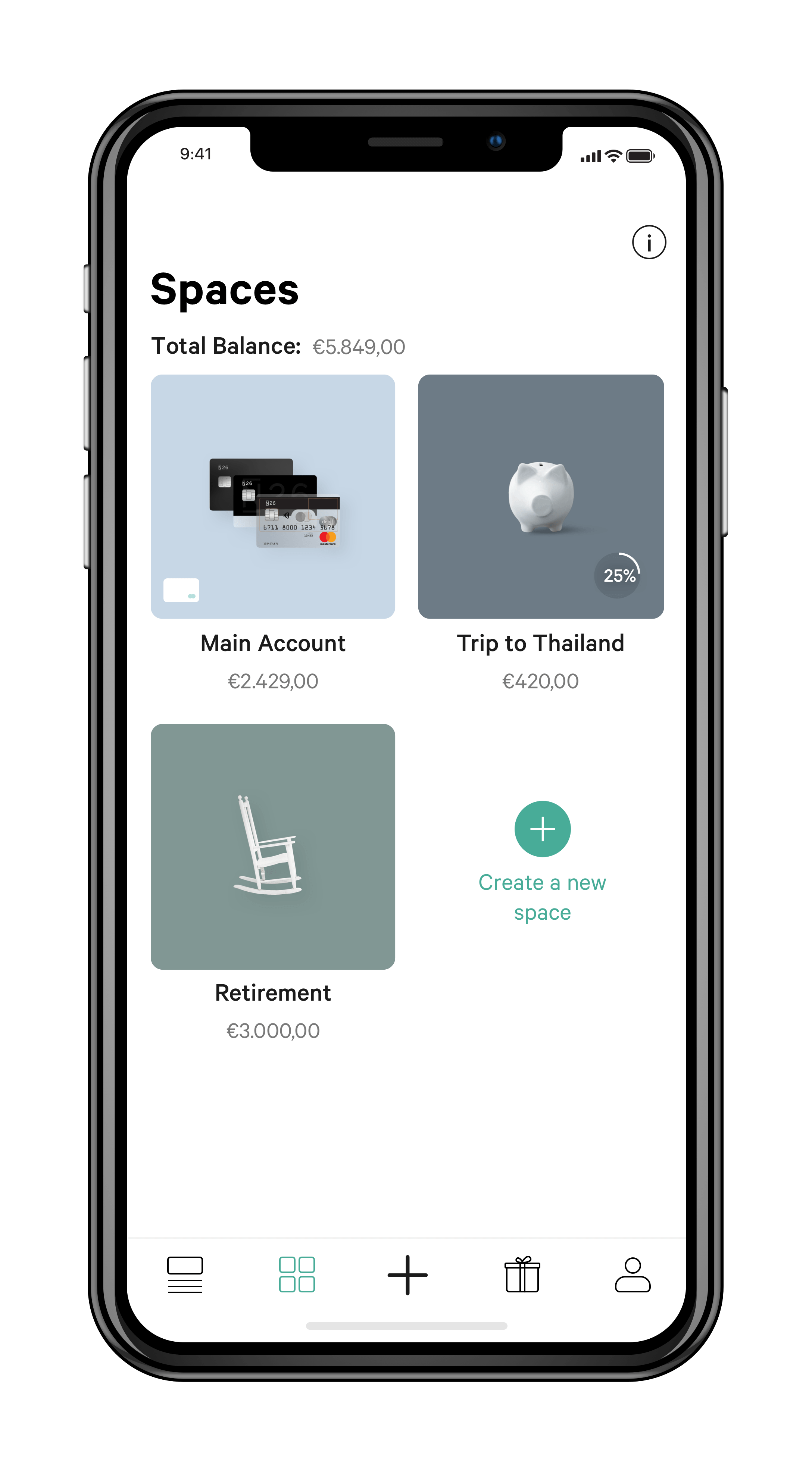 An app displaying different savings funds and a current account.