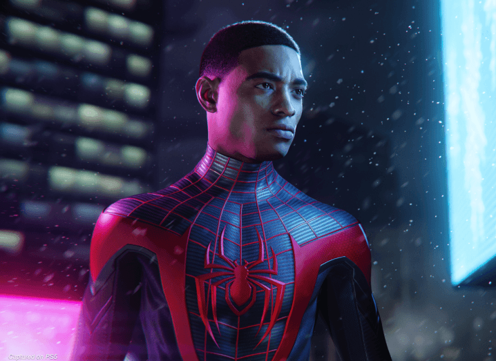 An in-game animation of a young man wearing a Spider-Man costume.