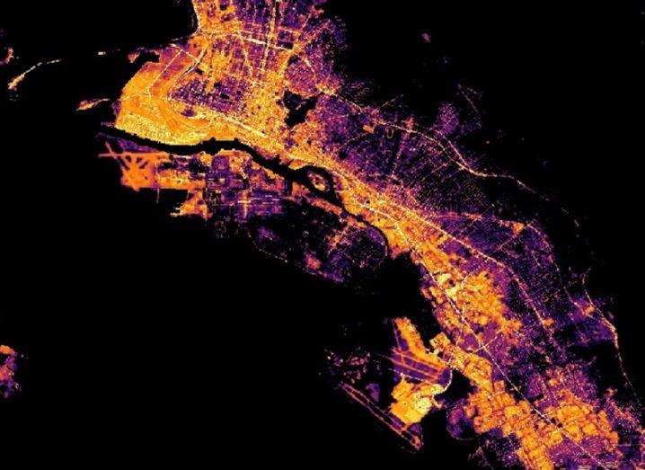 Satellite image of San Francisco at night lit up by streetlights.