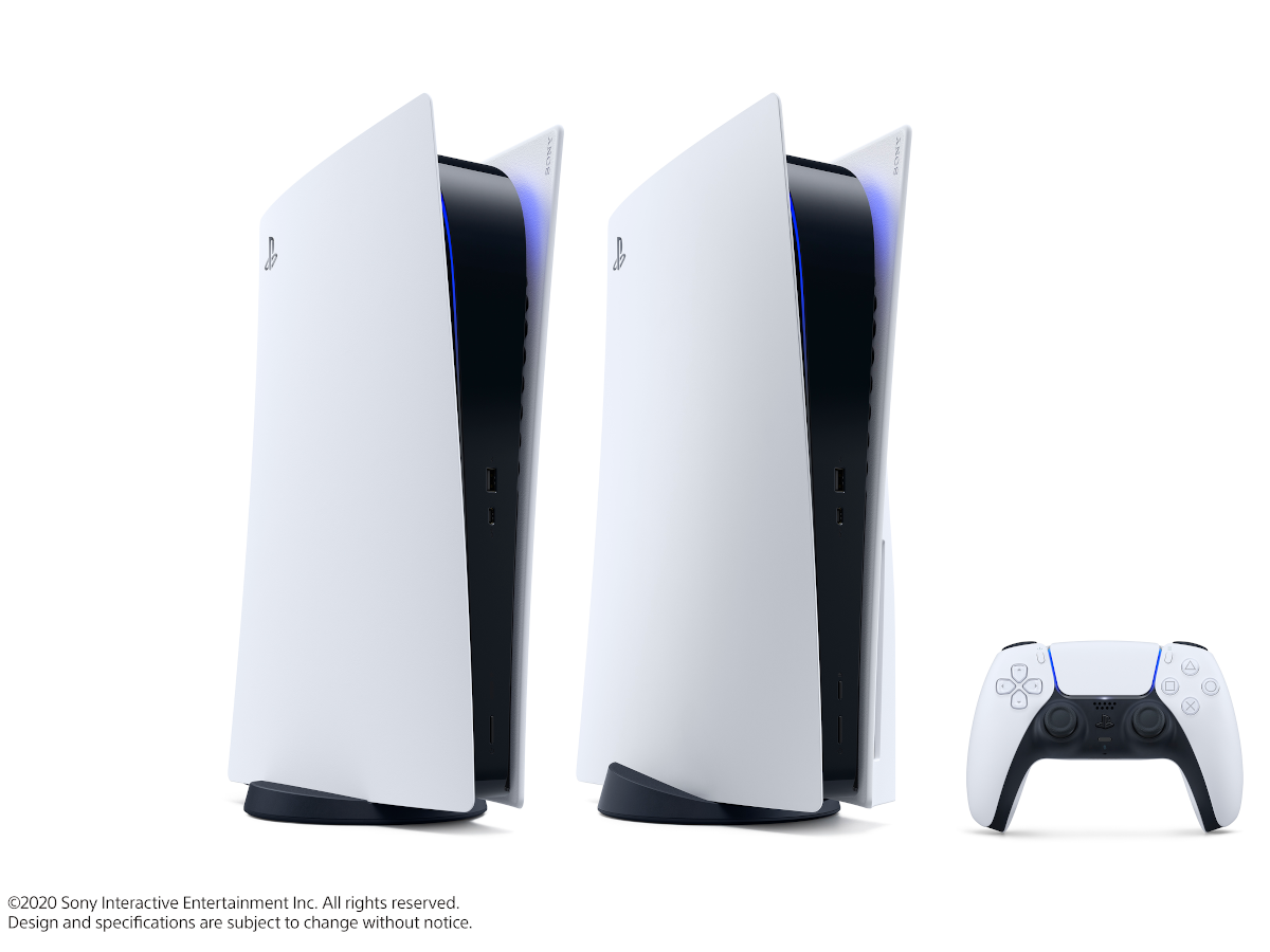 Two white consoles side by side, one with a disc drive and one without.