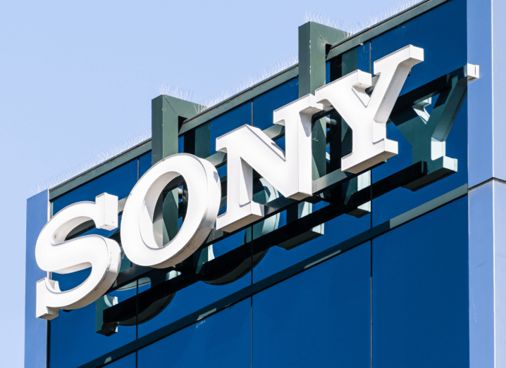 The Sony logo on the front of an office building.