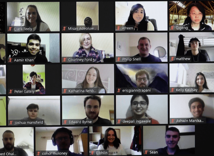 More than 20 different people having a conversation on Zoom.