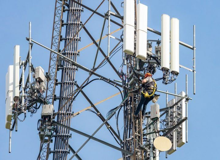5G antennas on a large tower.