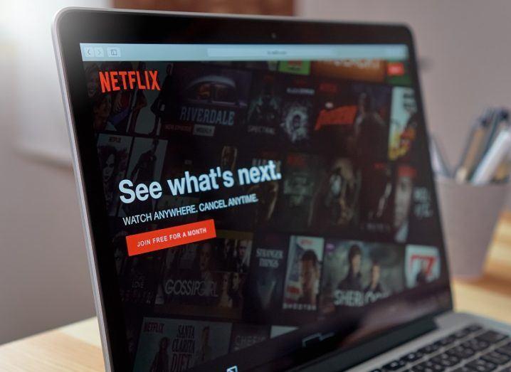 A laptop screen with Netflix open.
