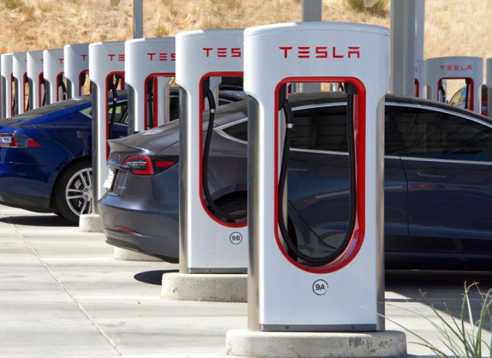 A Tesla charging station on a freeway in the US.