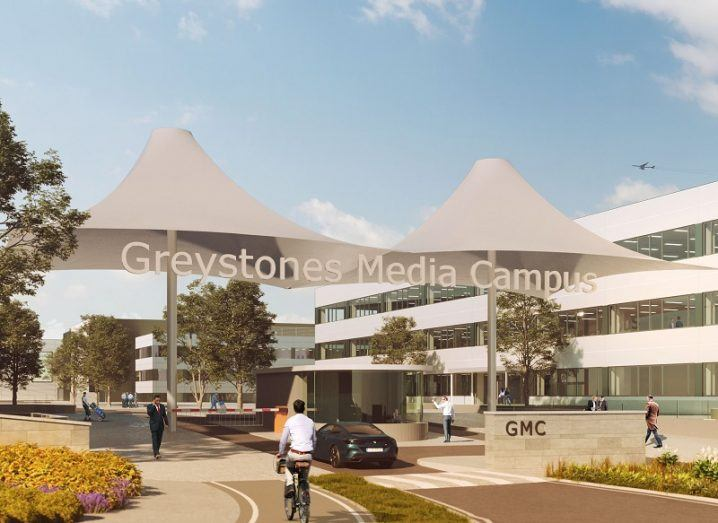 Conceptual image of the Greystones Media Campus with two large umbrella structures at its entrance.
