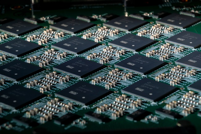 A close-up of an Intel Nahuku board, each of which contains eight to 32 Intel Loihi neuromorphic research chips.