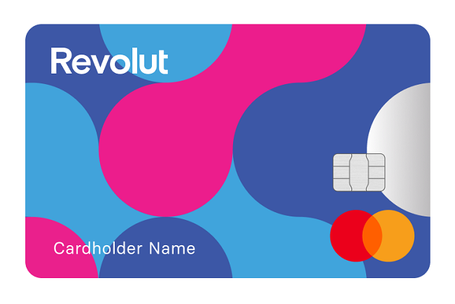 A Revolut Junior account card coloured purple, light blue and dark blue.