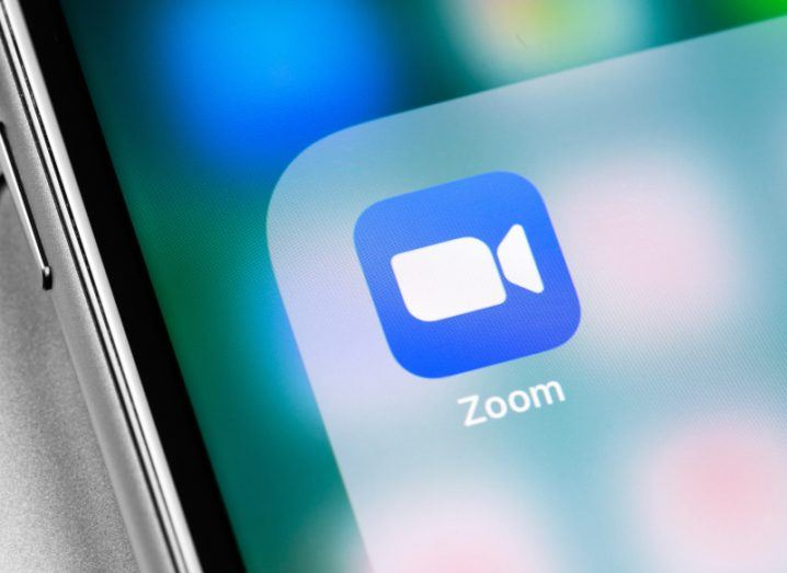 A close up of the Zoom app on a mobile phone.