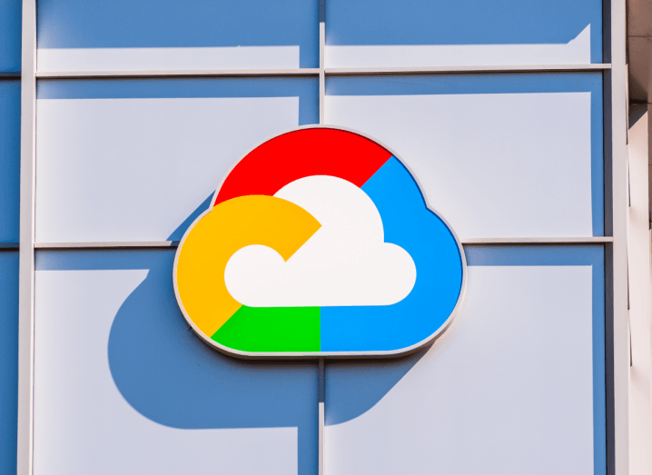 The Google Cloud logo on the front of a building.