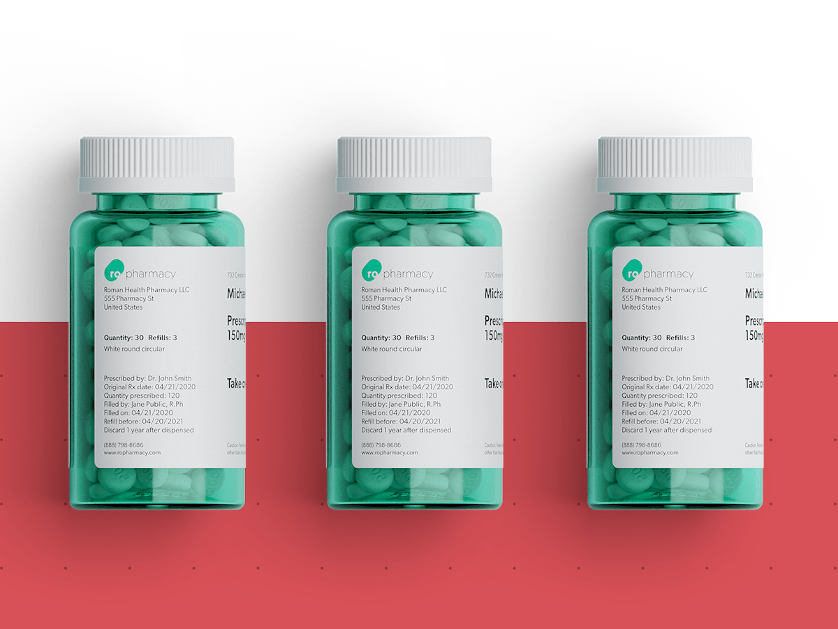 Three green medicine bottles on a red and white background.