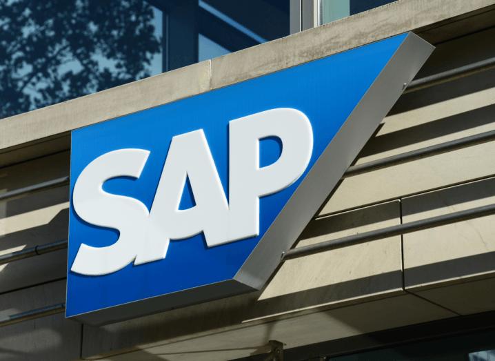The SAP logo on an office building.