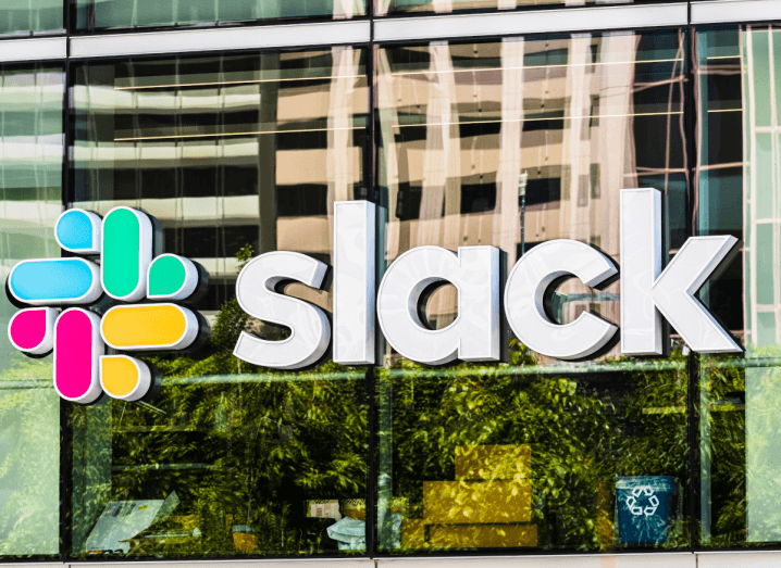The Slack logo on the front of an office building.