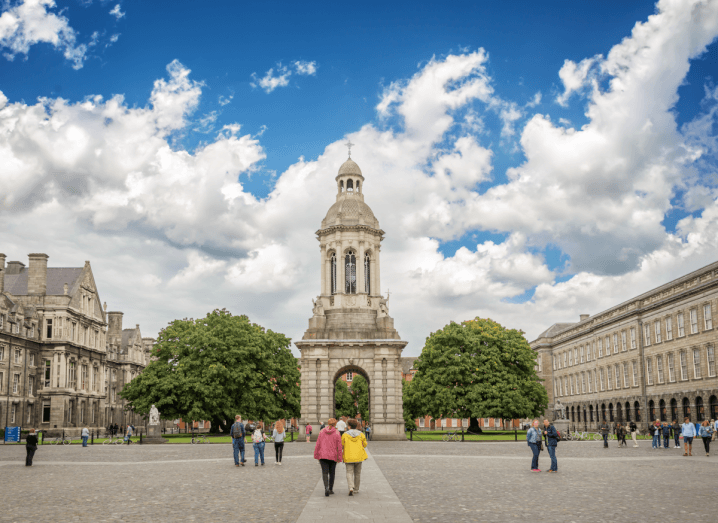 The courtyard at the entrance of Trinity College Dublin.
