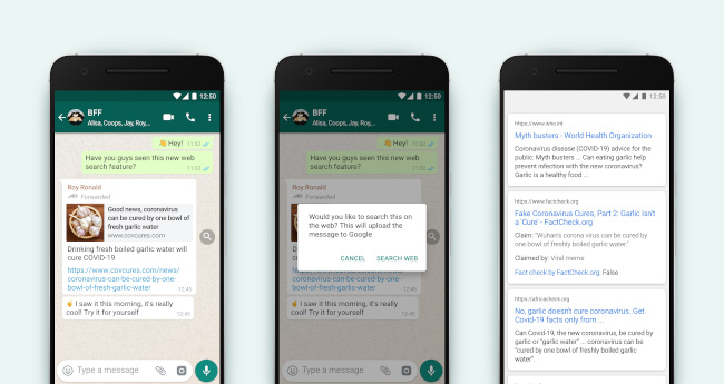 A sequence of smartphone screens showing the new WhatsApp search feature in action.