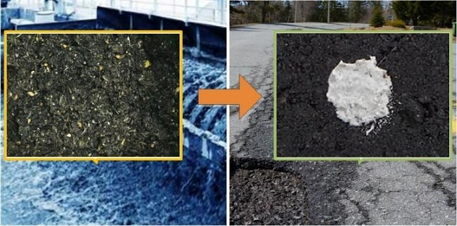 A side-by-side image of wastewater grit and the ceramic mortar material coloured white.